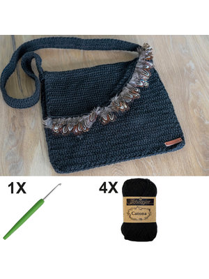 DIY Kit Crochet kit C1003 Bag Black + free magazine