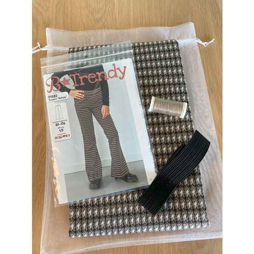 "Miss Doodle Kit 80-176 Sewing kit P1085 Trousers ""Taupe Blocks"" + free magazine"