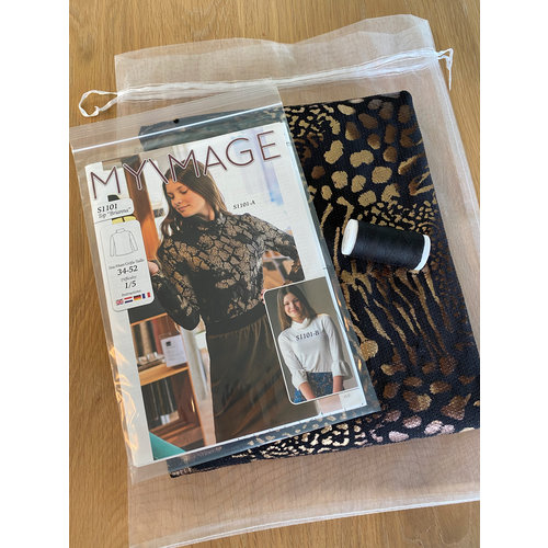 "Miss Doodle Kit 34-52 Naaiset S1101 Top ""Gold Print"" + gratis magazine"