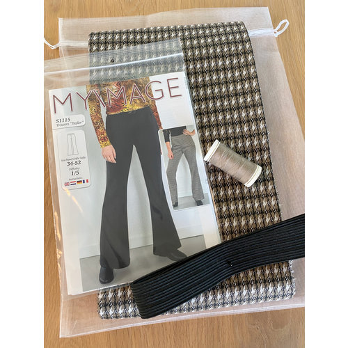 "Miss Doodle Kit 34-52 Sewing kit S1115 Trousers ""Taupe Blocks"" + free magazine"
