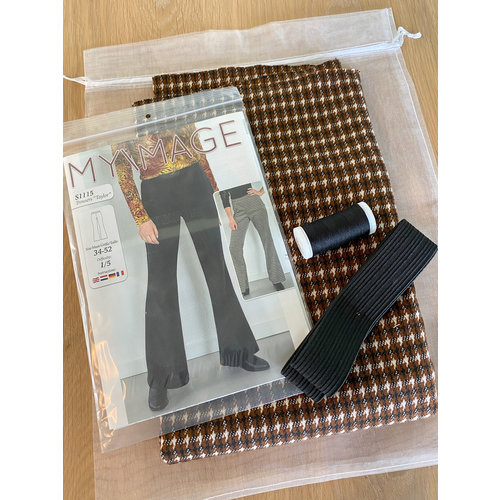 "Miss Doodle Kit 34-52 Naaiset S1115 Broek ""Brown Blocks"" + gratis magazine"