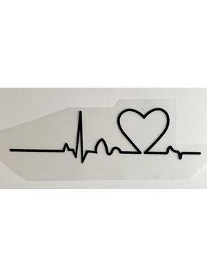 Bügelapplikation Heartbeat Black