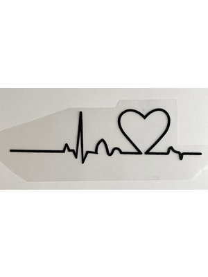 Iron-on patch Heartbeat Black