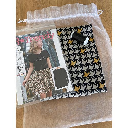 """Miss Doodle Kit 80-176 Naaiset P1108 Shirt """"Grijs"""""""