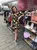 Wikkel jurk geel/paars