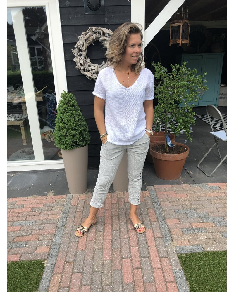 Top Cotton basic army groen