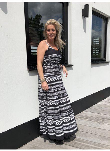 Aztec jurk zwart/wit