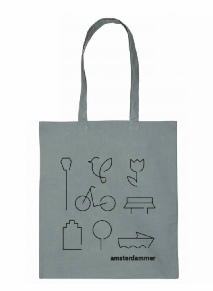 amsterdammer shopper bag grey robins hood vintage design