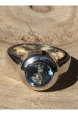blauw topaas facet ring zilver