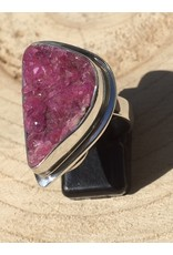 calciet roze of cobalto calciet kristallen ring zilver