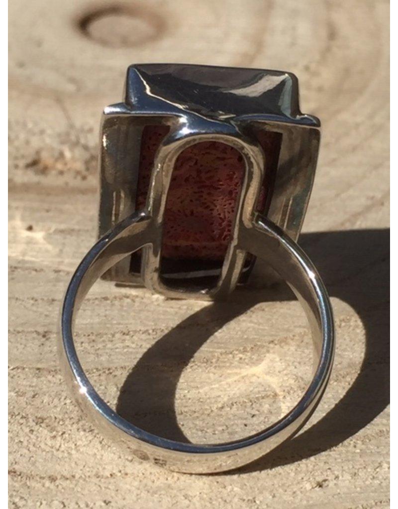 schuimkoraal ring zilver
