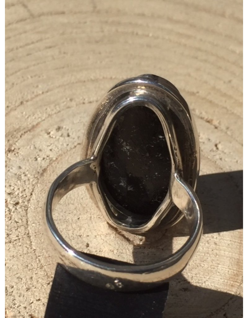 toermalijn zwart kristal zilver ring