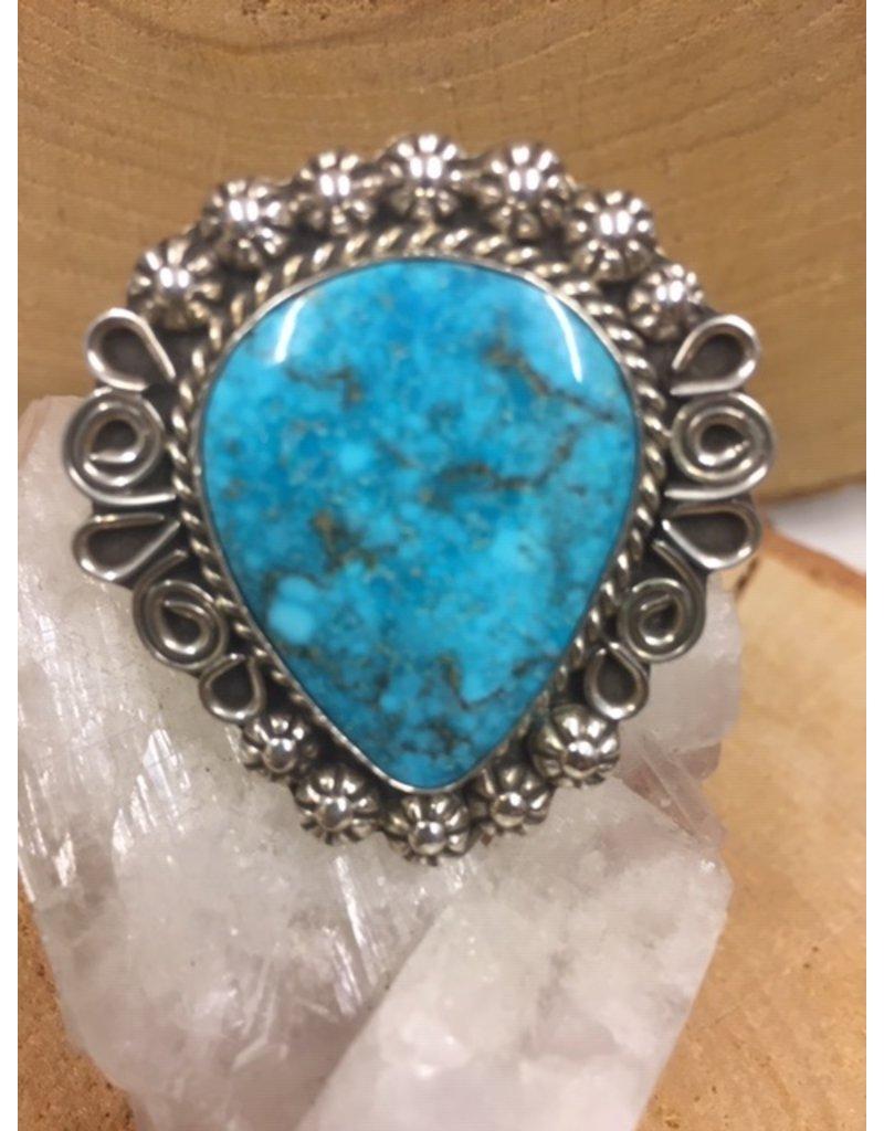 Navajo Indianen turkoois ring zilver, uniek!