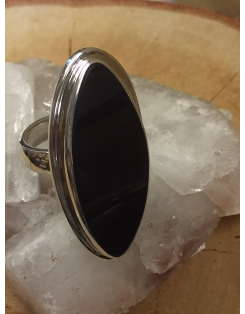 onyx ring zilver