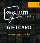 Lumière WWW.MYLUM.TV -  1 maand Fanformule Giftcard (waarde € 7,99) - LET OP: GEEN DVD