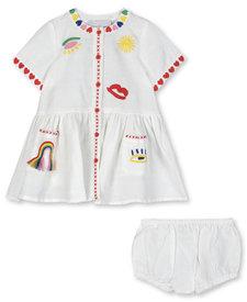 Linen Dress Hearts Embro