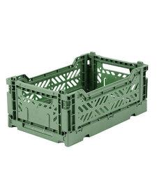 Folding Crates Mini Almond Green
