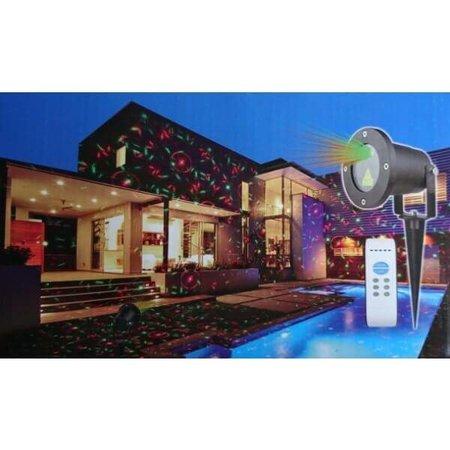 QUALEDY® LED Laser Tuin en Feest lamp - Rood/Groen - 12 effecten met afstandsbediening