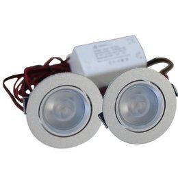 QUALEDY® LED Set van 2 Inbouwspot - 4W - Chroom