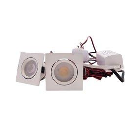 QUALEDY® LED Set 2-Inbouwspots - 4W - Wit - Vierkant