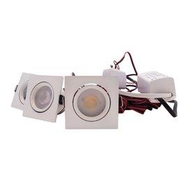 QUALEDY® LED Set 3-Inbouwspots - 4W - Wit - Vierkant
