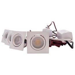 QUALEDY® LED Set 4-Inbouwspots - 4W - Wit - Vierkant