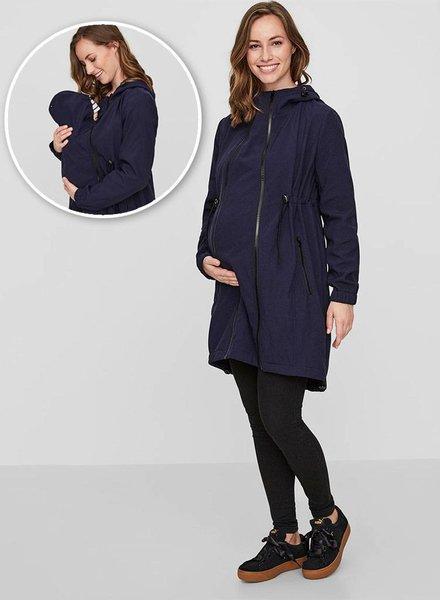 Mama Licious Shella Carry Me Coat Navy Blazer
