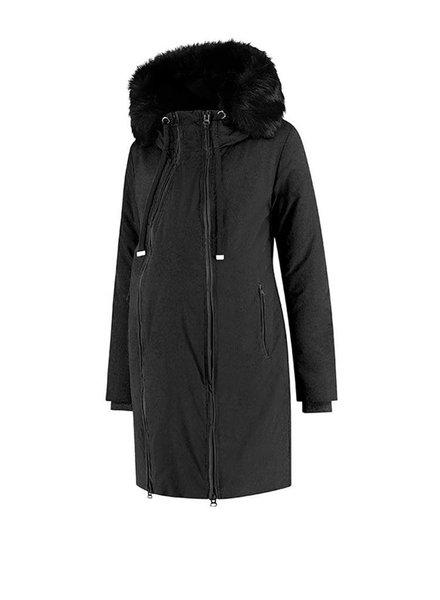 Love2Wait Coat Double Zipper Padded Piping Black