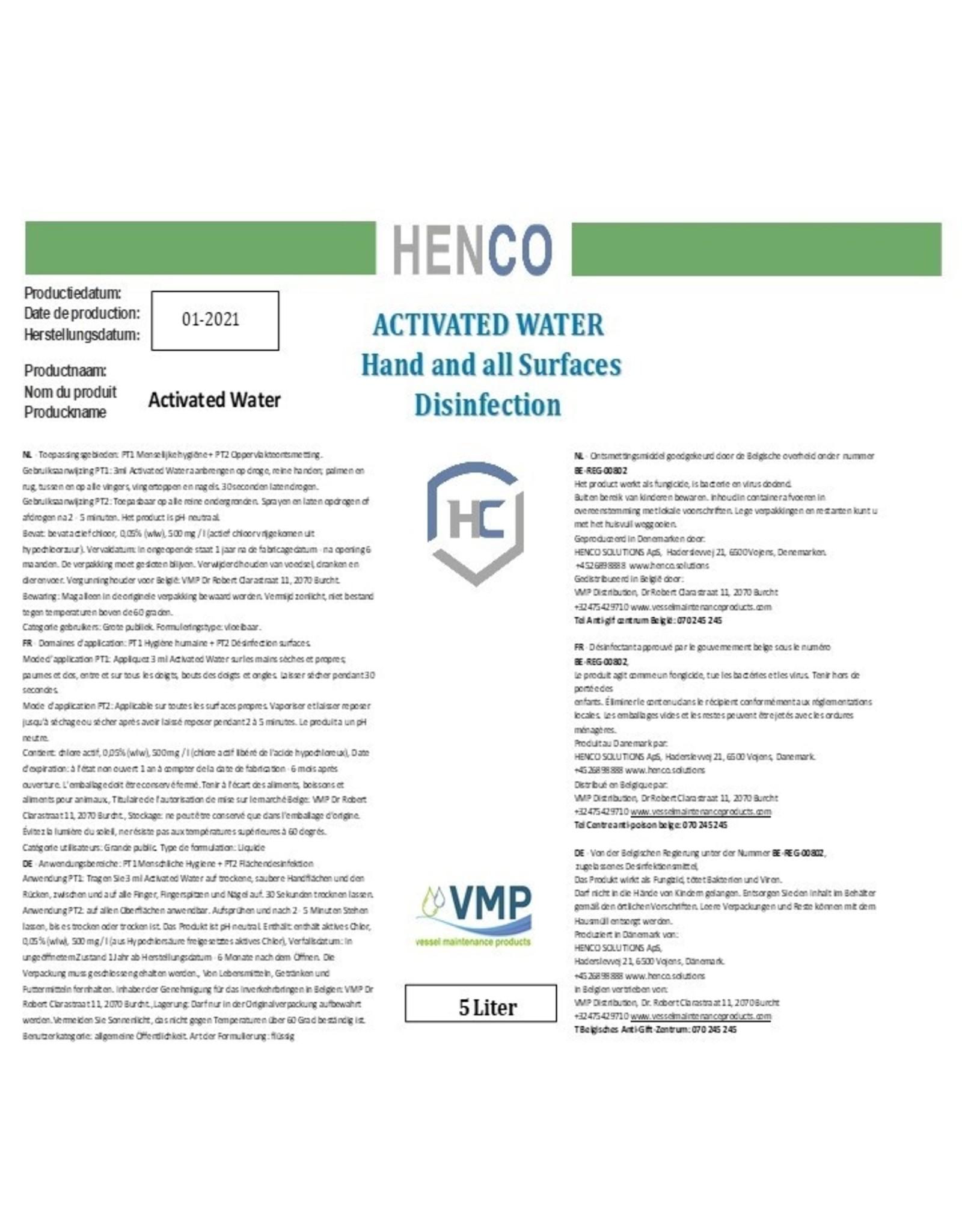 Henco Solutions Ontsmettingsmiddel - Activated Water of ECA Water (HOCI)