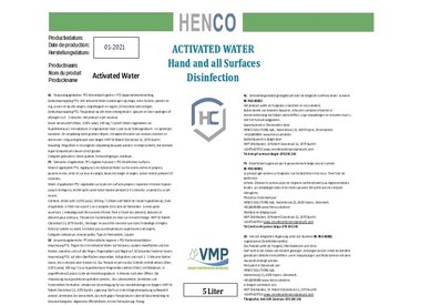 Henco 9090 Ontsmetting:  Activated Water (HOCL)