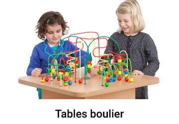 Enfants jouent a une table boulier