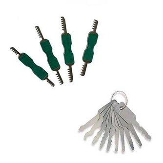 4-pieces padlock set + 7-pieces Jiggler lock pick car set