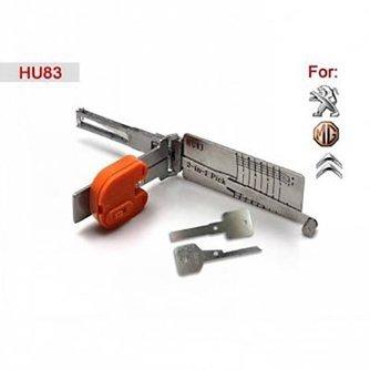 Lishi Herramienta de apertura vehículos HU83 2-in-1 para Citroen y Peugeot incluye llaves de emergencia