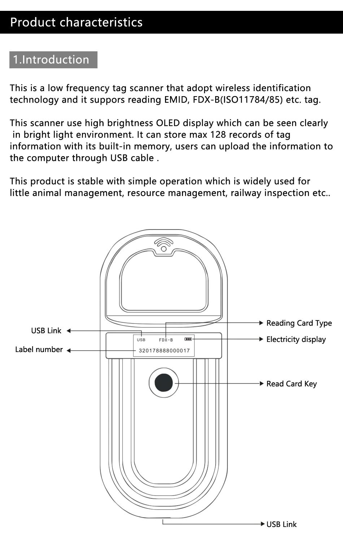 Wieran pocket chipreader voor alle ISO FDX-B chips met geheugen