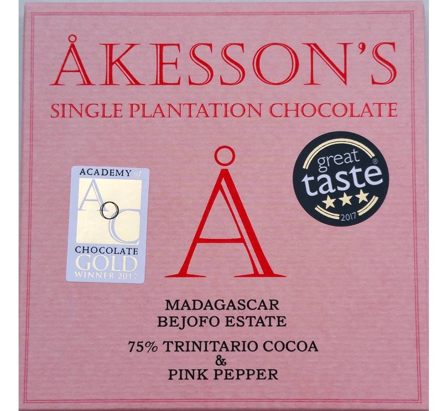 Dunkle Schokolade 75% Trinitario Cocoa & Rosa Pfeffer
