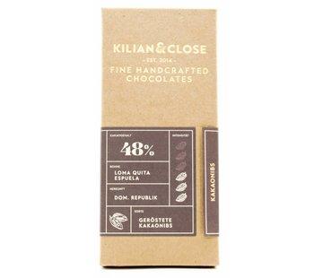 Kilian&Close Vegane Milchschokolade mit gerösteten Kakaonibs 48%