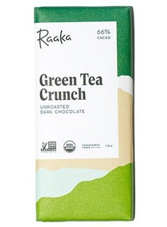 Raaka Chocolate Dunkle Bio-Schokolade Green Tea Crunch 66%