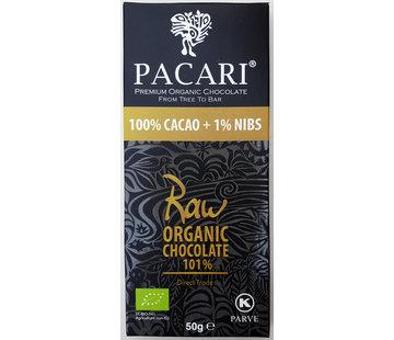 Pacari Dunkle Bio-Schokolade Raw 100% + 1% Nibs