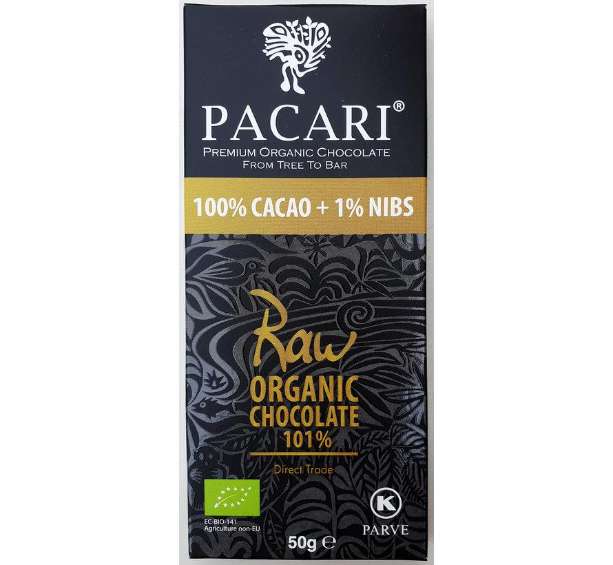 Dunkle Bio-Schokolade Raw 100% + 1% Nibs