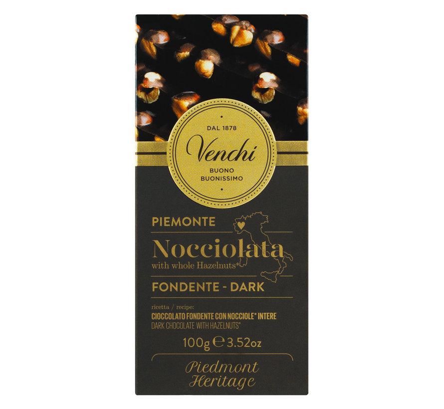Dunkle Schokolade mit Haselnüssen Nocciolato Fondente