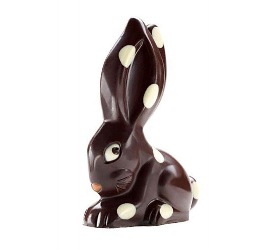 Der tollkühne Toni - dunkler Schokoladenhase mit Punkten in der Geschenkbox