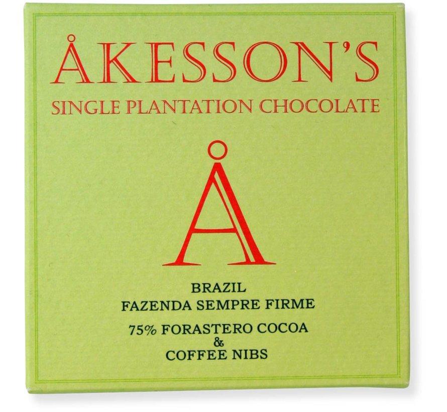 Dunkle Schokolade 75% Brazil Sempre Firme mit Kaffee