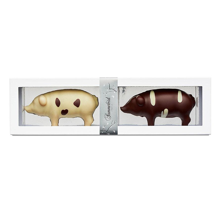 Bio-Marzipan mit dunkler und weißer Schokolade - Julegrise