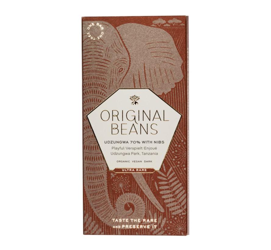 Dunkle Schokolade 70% Cru Udzungwa mit Nibs