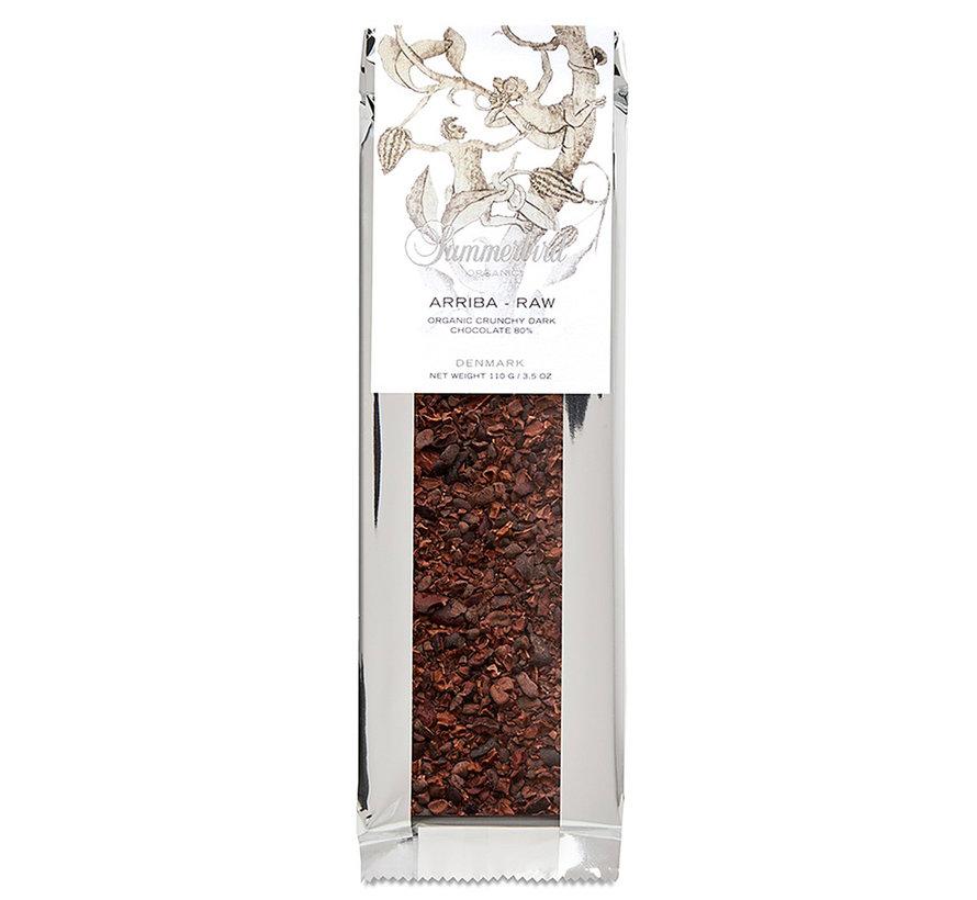 Dunkle Bio-Schokolade Arriba RAW 80% mit Nibs