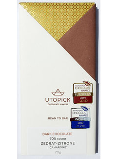 Utopick Dunkle Schokolade 70% Zedrat-Zitrone Canarone