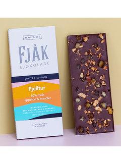 Fjåk Sjokolade  Milchschokolade 50% Fjelltur Appelsin & Mandler