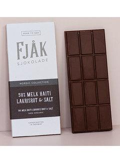 Fjåk Sjokolade  Milchschokolade 50% Melk Lakrisrot & Salt
