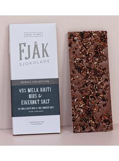Fjåk Sjokolade  Milchschokolade 45% Melk Haiti Nibs & Eikerøkt Salt