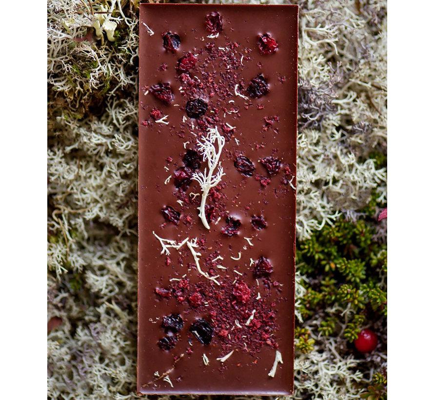 Dunkle Bio-Schokolade 70% Mørk Reinsdyrlav & Tyttebær